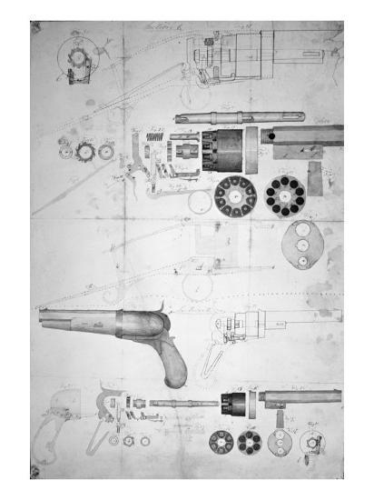 Original Plans for a Ten-chamber Revolver which Later Became the Six-chamber Patented in 1836-Samuel Colt-Giclee Print