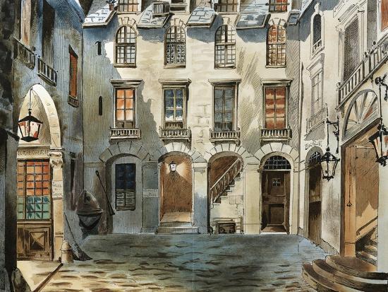 Original Set Design Sketch for Second Act of Opera La Boheme-Ruggero Leoncavallo-Giclee Print