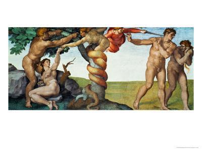 Original Sin, Ceiling Frescoes after Restoration-Michelangelo Buonarroti-Giclee Print