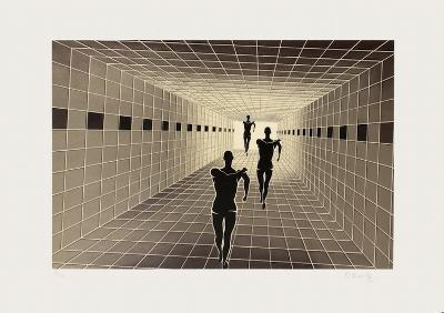 Origines - Etude de perspective-Victor Vasarely-Limited Edition