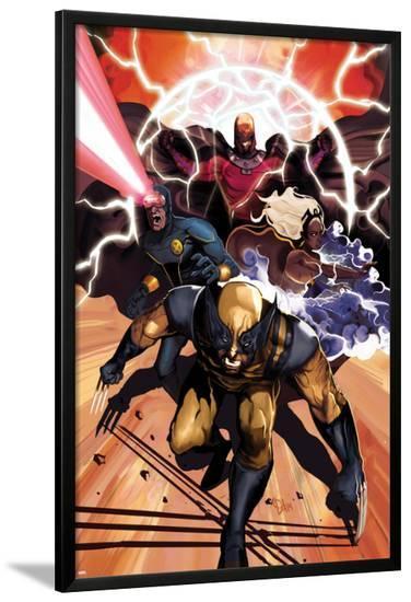 Origins of Marvel Comics: X-Men No.1 Cover: Wolverine, Storm, Cyclops, and Magneto Running-Mike Del Mundo-Lamina Framed Poster