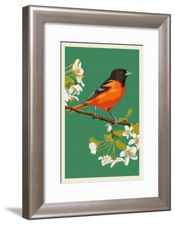 Oriole and Blossoms-Lantern Press-Framed Art Print
