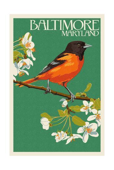 Oriole - Baltimore, MD-Lantern Press-Art Print