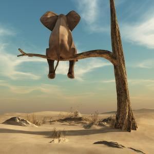 Elephant Stands on Thin Branch of Withered Tree in Surreal Landscape. this is a 3D Render Illustrat by Orla