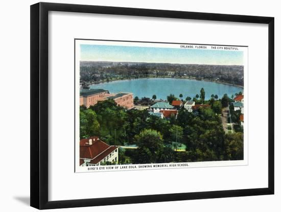 Orlando, Florida - Lake Eola Aerial, Memorial High School-Lantern Press-Framed Art Print