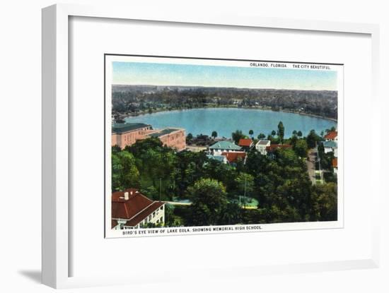 Orlando, Florida - Lake Eola Aerial, Memorial High School-Lantern Press-Framed Art Print