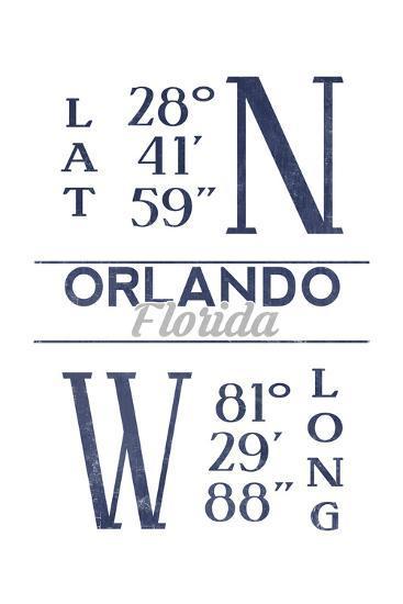 Orlando, Florida - Latitude and Longitude (Blue)-Lantern Press-Art Print