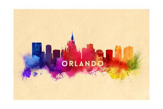Orlando, Florida - Skyline Abstract-Lantern Press-Art Print