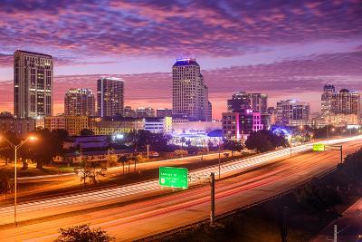Orlando, Florida, USA Downtown Cityscape over the Highway.-SeanPavonePhoto-Photographic Print