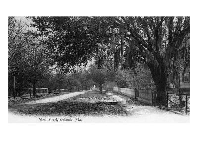 Orlando, Florida - View Down West Street-Lantern Press-Art Print