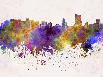 Orlando Skyline in Watercolor Background-paulrommer-Art Print
