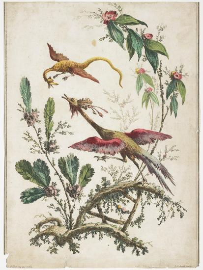 Ornament. Chinoiserie. Flowers and Birds., 1770-Jean Baptiste Pillement-Giclee Print