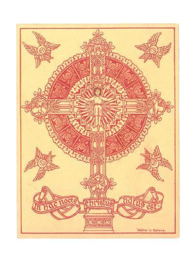 Ornamental Cross Medallion with Angels--Art Print