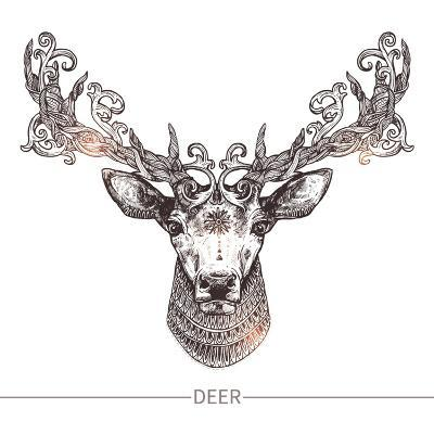 Ornamental Tattoo Deer Head. Highly Detailed Abstract Hand Drawn Style-Alex Rockheart-Art Print