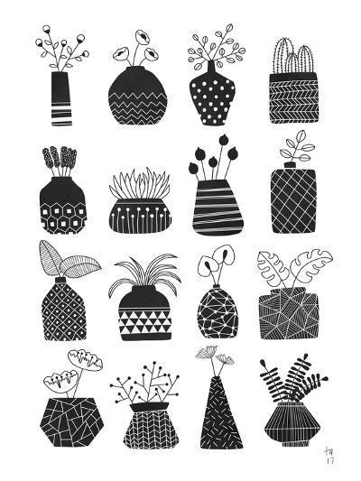 Ornamental Vases Monochrome-Tracie Andrews-Art Print