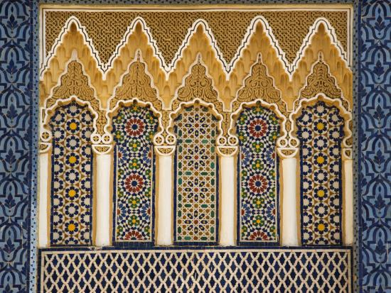 Ornate Architectural Detail Above the Entrance to the Royal Palace, Fez, Morocco, North Africa-John Woodworth-Photographic Print