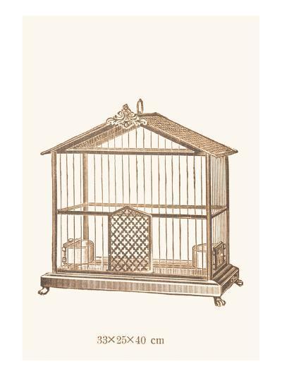 Ornate Brown Bird Cage C--Art Print