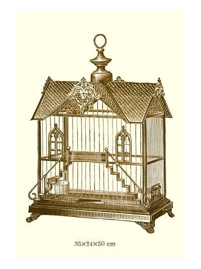 Ornate Brown Bird Cage H--Art Print