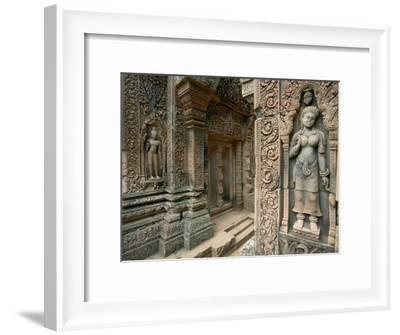 Ornate Carvings and Sculptures of Buddhist Deities Adorn the Outside of a Buddhist Temple-Paul Chesley-Framed Photographic Print