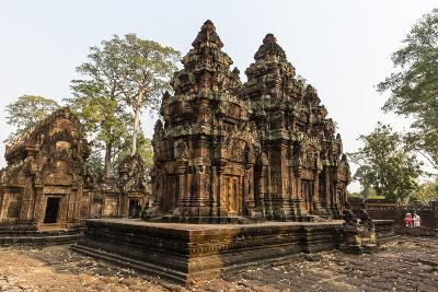 Ornate Carvings in Red Sandstone at Banteay Srei Temple in Angkor, Siem Reap, Cambodia-Michael Nolan-Photographic Print