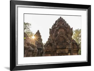 Ornate Carvings in Red Sandstone at Sunset in Banteay Srei Temple in Angkor, Siem Reap, Cambodia-Michael Nolan-Framed Photographic Print