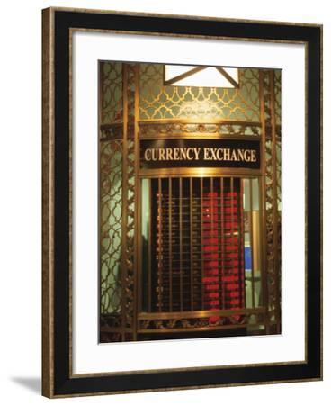 Ornate Currency Exchange Window--Framed Photographic Print