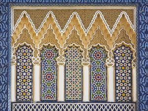 Ornate Detail With Coloured Tiles, Royal Palace, Fez-El-Jedid, Fez (Fes), Morocco, North Africa
