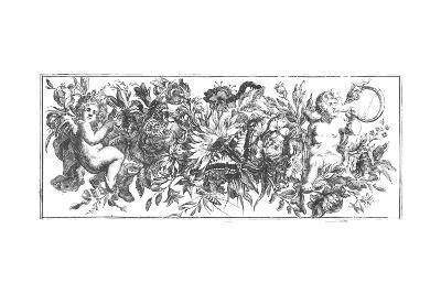 Ornate Flowering Garland with Cherubs--Art Print