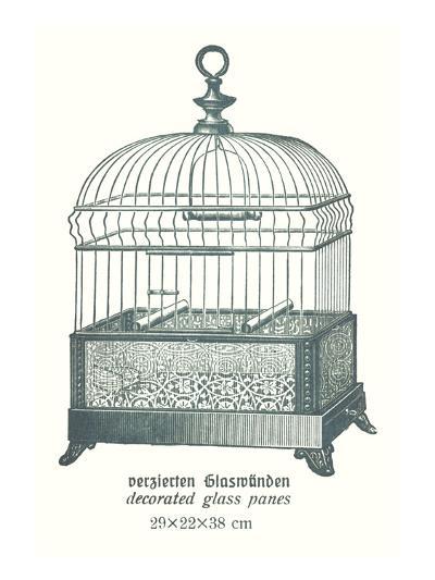 Ornate Green Bird Cage B--Art Print