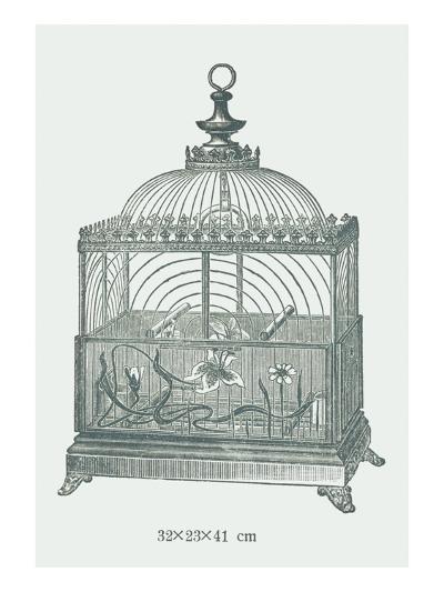 Ornate Green Bird Cage C--Art Print