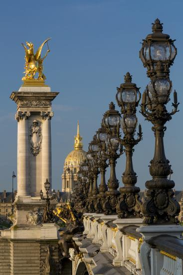 Ornate Pont Alexandre III with Hotel les Invalides, Paris, France-Brian Jannsen-Photographic Print