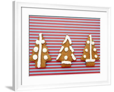 Ornately Decorated and Frosted Christmas Tree Cookies on Striped Table Cloth--Framed Photographic Print