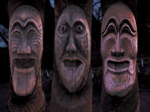 Ornately Decorated Wooden Carved Faces