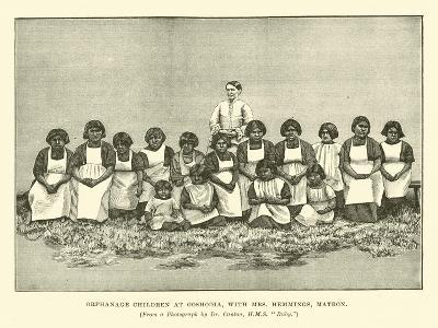 Orphanage Children at Ooshooia, with Mrs Hemmings, Matron--Giclee Print