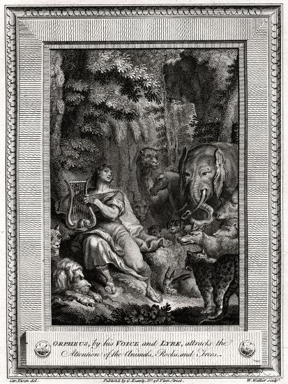 Orpheus, by His Voice and Lyre, Attracts the Attention of the Animals, Rocks and Trees, 1774-W Walker-Giclee Print