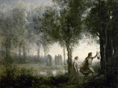 Orpheus Leading Eurydice from the Underworld Corot Mythologie B A3 02501 Gerahmt