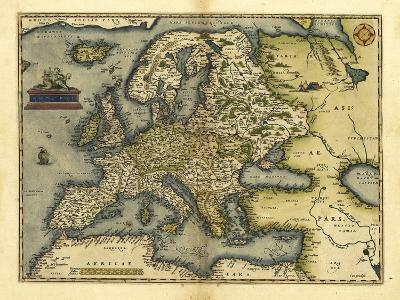 Ortelius's Map of Europe, 1570-Library of Congress-Photographic Print