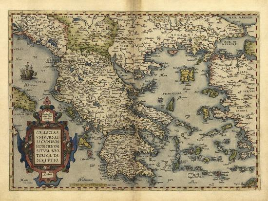 Ortelius's Map of Greece, 1570-Library of Congress-Photographic Print
