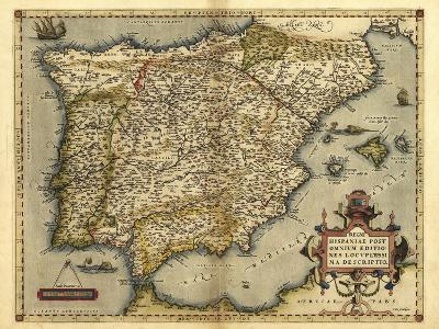 Ortelius's Map of Iberian Peninsula, 1570-Library of Congress-Photographic Print