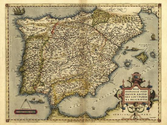 Ortelius's Map of Iberian Peninsula, 1570-Library of Congress-Photographic Print
