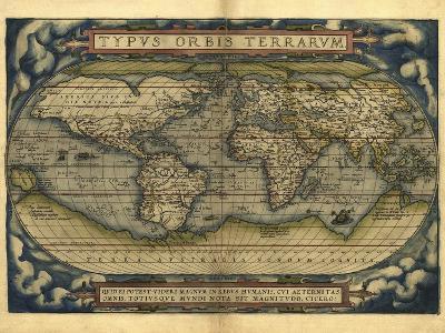 Ortelius's World Map, 1570-Library of Congress-Photographic Print