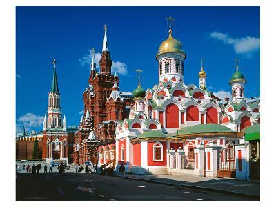 Orthodox Church with State Historical Museum and Kremlin Tower on Red Square, Moscow, Russia--Art Print