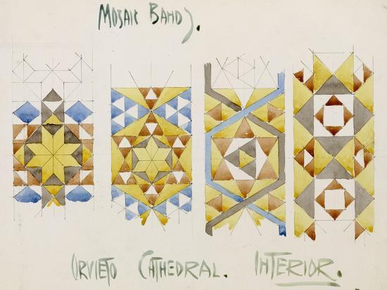 Orvieto Cathedral, a Sheet of Studies of Mosaic Bands, 1891-Charles Rennie Mackintosh-Giclee Print