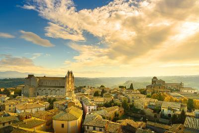 Orvieto Medieval Town and Duomo Cathedral Church Aerial View. Italy-stevanzz-Photographic Print