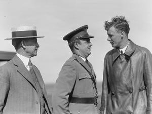 Orville Wright, John F Curry and Charles Lindbergh, at Wright Field in Dayton, Ohio, USA, 1927