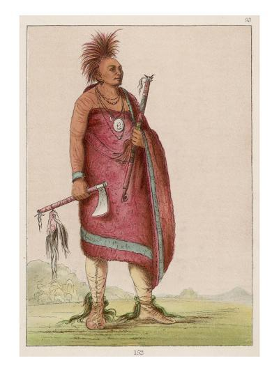 Osage Chief Carrying a Pipe and a Tomahawk--Giclee Print