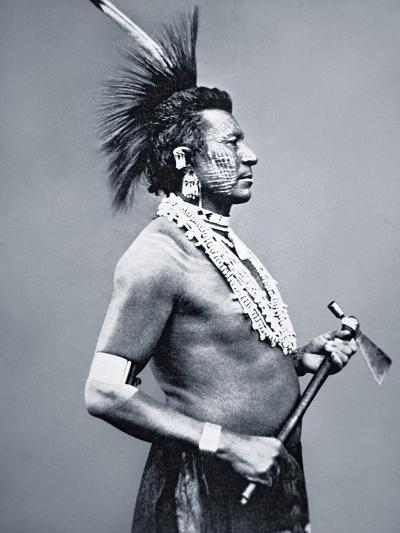 Osage Tribe Warrior with Tomahawk Pipe, c.1875--Giclee Print