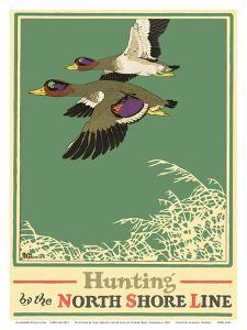 Hunting by the North Shore Line - Wild Ducks - Chicago, North Shore & Milwaukee Railroad Co. by Oscar Rabe Hanson