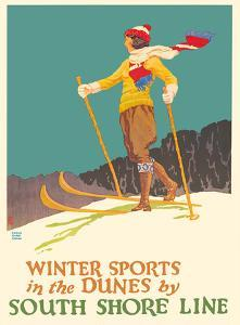 Winter Sports in the Dunes - South Shore Line - Chicago, Lake Shore & South Bend Railroad by Oscar Rabe Hanson