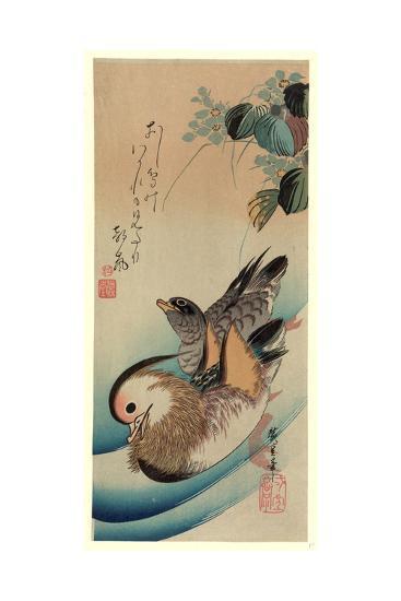 Oshidori-Utagawa Hiroshige-Giclee Print